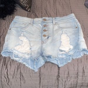 Express Light Wash Denim Ripped Shorts